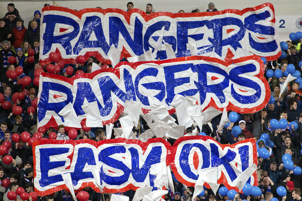 Rangers fans with a display during the Ladbrokes Premiership match at Ibrox, Glasgow