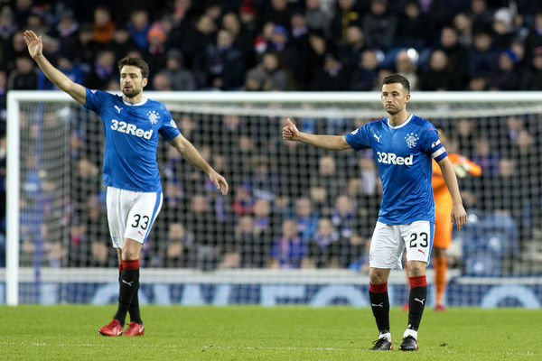 Rangers captain Jason Holt and Russell Martin during the Ladbrokes Premiership match at Ibrox, Glasgow