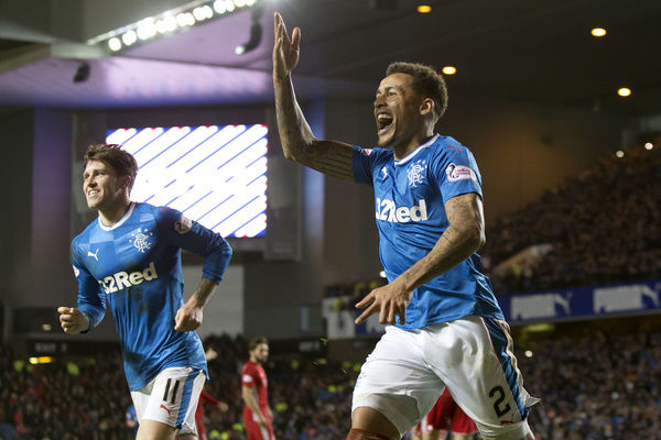 Rangers' James Tavernier celebrates his goal from the penalty spot during the Ladbrokes Premiership match at Ibrox, Glasgow