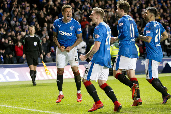 Rangers' James Tavernier celebrates his goal with his team mates during the Ladbrokes Premiership match at Ibrox, Glasgow