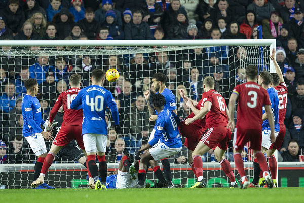 Aberdeen's Scott McKenna scores during the Ladbrokes Premiership match at Ibrox Stadium, Glasgow