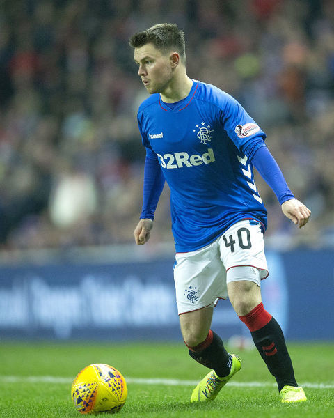 Rangers' Glenn Middleton wears rainbow laces during the Ladbrokes Premiership match at Ibrox Stadium, Glasgow