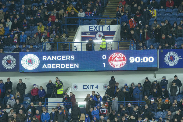 The full time score board at the Ladbrokes Premiership match at Ibrox Stadium, Glasgow