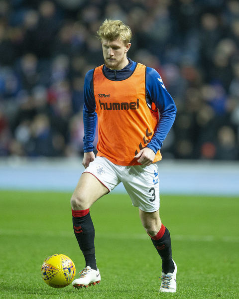 Rangers defender Joe Worrall wears rainbow laces during the Ladbrokes Premiership match at Ibrox Stadium, Glasgow