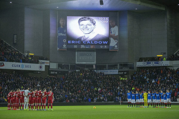 Rangers and Aberdeen players during a minutes silence for former player Eric Caldow at the Scottish Cup match at Ibrox Stadium, Glasgow