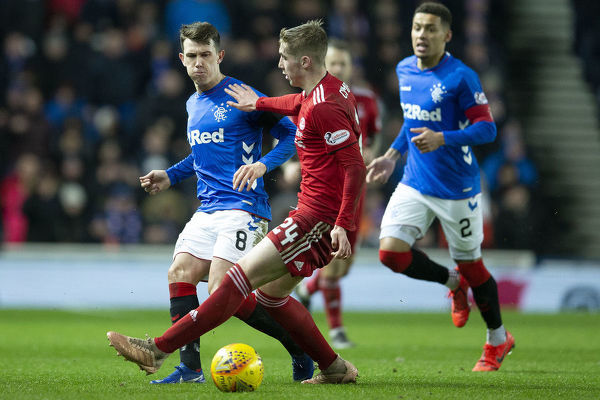 Rangers' Ryan Jack passes the ball during the Scottish Cup match at Ibrox Stadium, Glasgow