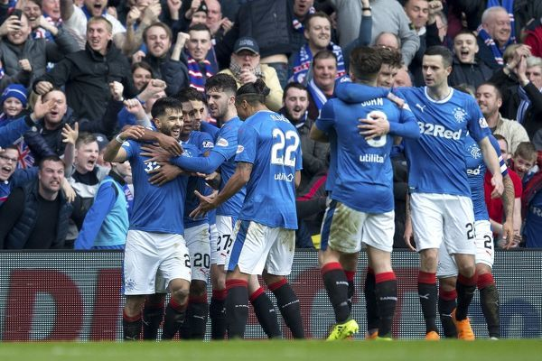 Rangers' Daniel Candeias celebrates his goal with his team mates during the Ladbrokes Premiership match at Ibrox Stadium, Glasgow