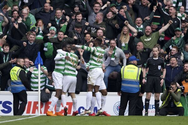 Celtic's Odsonne Edouard celebrates his goal with his team mates during the Ladbrokes Premiership match at Ibrox Stadium, Glasgow