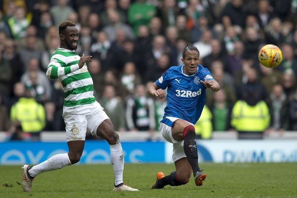 Rangers' Bruno Alves clears from Celtic's Moussa Dembele during the Ladbrokes Premiership match at Ibrox Stadium, Glasgow