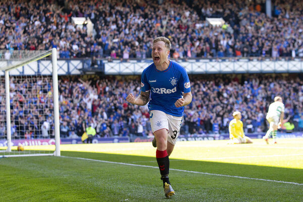 Rangers' Scott Arfield celebrates his goal during the Scottish Premiership match at at Ibrox Stadium, Glasgow