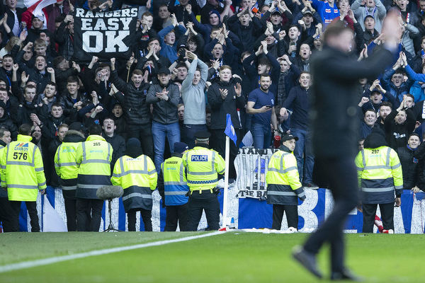 Rangers fans applaud Manager Steven Gerrard at the end of the Scottish Premiership match at Ibrox, Glasgow