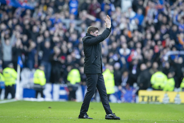 Rangers Manager Steven Gerrard applauds the fans at the end of the Scottish Premiership match at Ibrox, Glasgow
