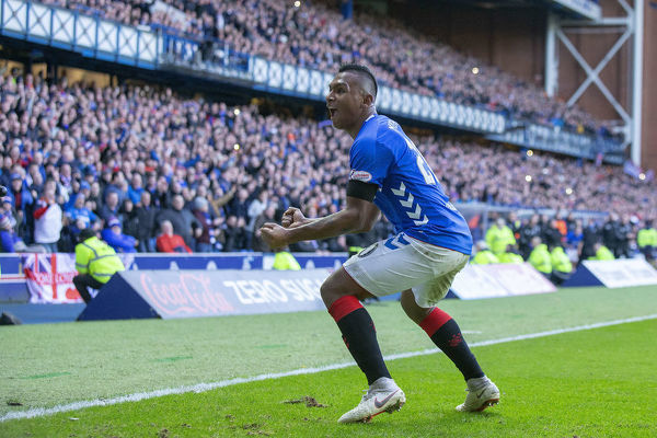 Rangers' Alfredo Morelos celebrates at full time at the Scottish Premiership match at Ibrox, Glasgow