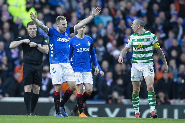 Rangers' Scott Arfield does the Broonie to Celtic captain Scott Brown during the Scottish Premiership match at Ibrox, Glasgow