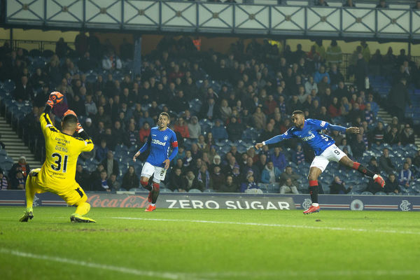 Rangers striker Jermain Defoe scores during the Scottish Premiership match at Ibrox, Glasgow
