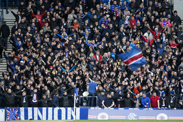 Rangers fans during the Ladbrokes Premiership match at Ibrox Stadium, Glasgow