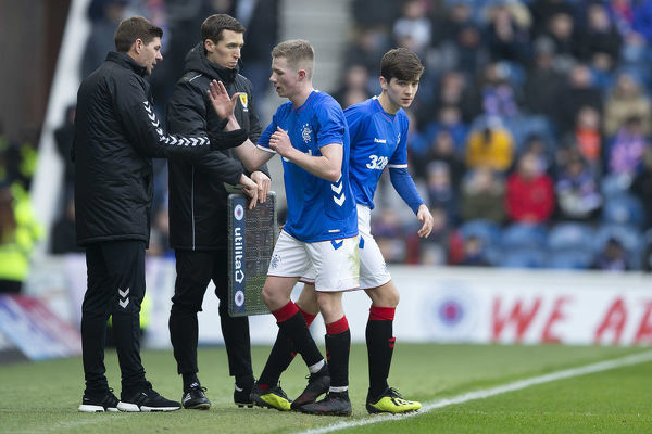 Rangers' Cammy Palmer replaces Stephen Kelly during the friendly match at Ibrox, Glasgow