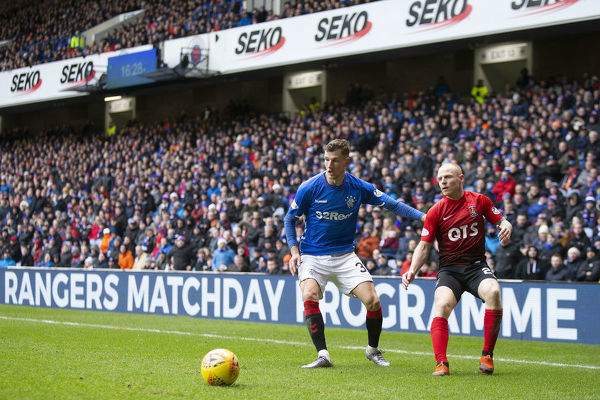 Rangers' Borna Barisic and Kilmarnock's Chris Burke during the Scottish Premiership match at Ibrox Stadium, Glasgow