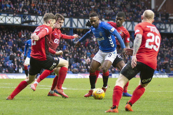 Rangers' Jermain Defoe on the ball during the Scottish Premiership match at Ibrox Stadium, Glasgow