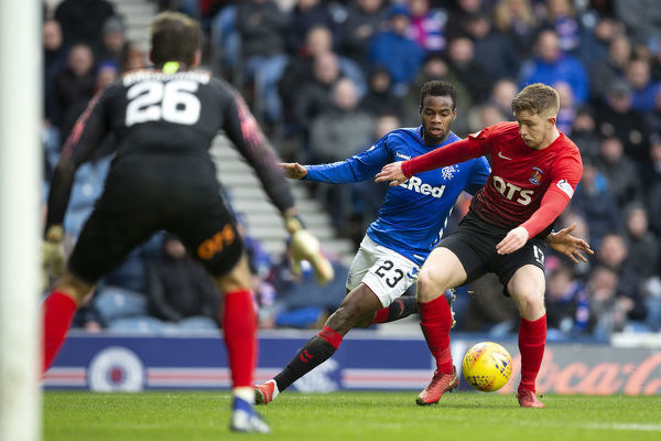Kilmarnock's Stuart Findlay shields the ball from Rangers' Lassana Coulibaly during the Scottish Premiership match at Ibrox Stadium, Glasgow