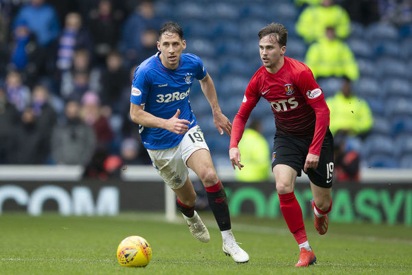 Rangers' Nikola Katic chases Kilmarnock's Liam Millar during the Scottish Premiership match at Ibrox Stadium, Glasgow