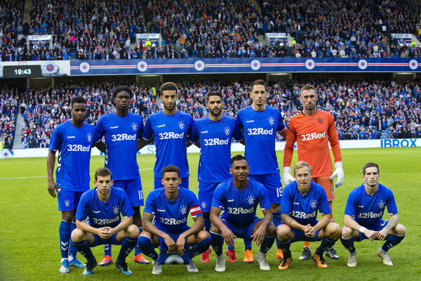 Rangers team to start (back row L-R) Lassana Coulibaly, Ovie Ejaria, Connor Goldson, Daniel Candeias, Nikola Katic and Allan McGregor (front row L-R) Jon Flanagan, captain James Tavernier, Alfredo Morelos, Scott Arfield and Ryan
