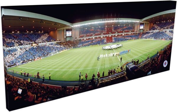 RNGR110 - Rangers v Inter Milan 'Union Jack' Flags, Panoramic Canvas, Rangers FC, 900x350mm Panoramic Canvas