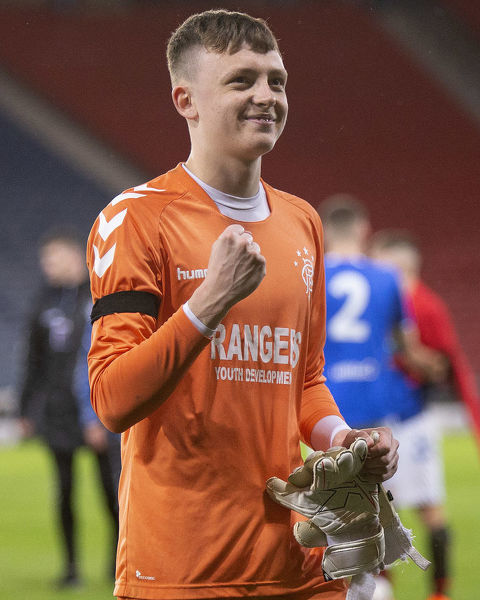 Rangers goalkeeper Lewis Budinauckas celebrates winning the Youth Cup Final at Hampden park, Glasgow