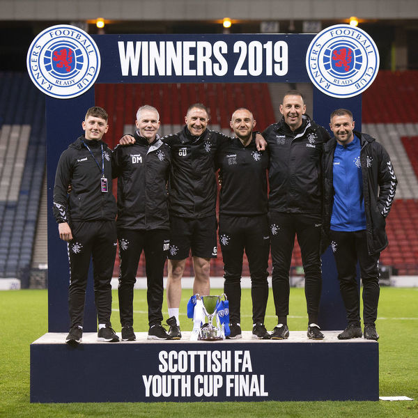 Rangers youth Manager David McCallum and his backroom staff celebrate winning the Youth Cup Final at Hampden park, Glasgow