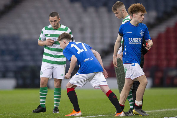 Rangers' Nathan Young-Coombes is replaced by Kieran McKechnie during the Youth Cup Final at Hampden Park, Glasgow