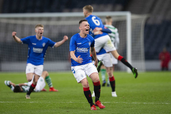 Rangers' Ciaran Dickson celebrates at full time during the Youth Cup Final at Hampden park, Glasgow