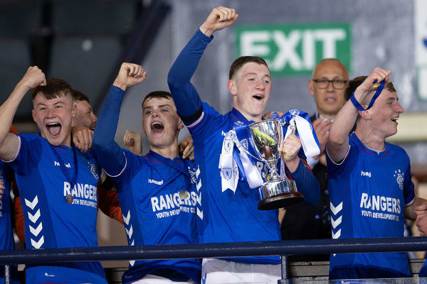 Rangers captain Daniel Finlayson lifts the Youth Cup at Hampden Park, Glasgow