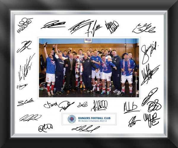 The Rangers first team, management & backroom staff celebrate winning the SFL 3 title. this print has been signed by members of the 1st team, the signatures may vary in look & quantity from the visual, all prints have a minimum of 20 signatures