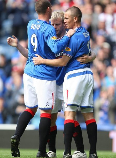 Rangers' Kris Boyd celebrates his second goal of the game with Kenny Miller and Steven Naismith