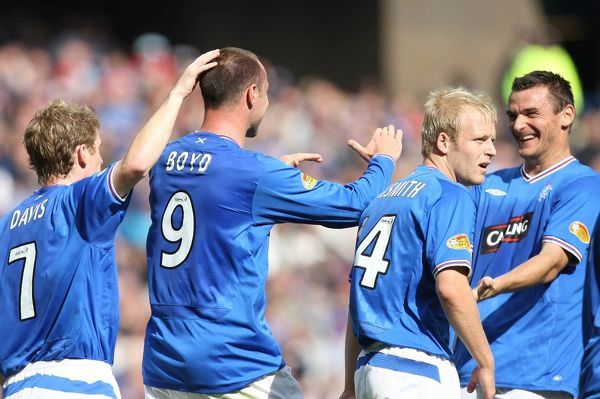 Rangers' Kris Boyd celebrates his first goal with team mates