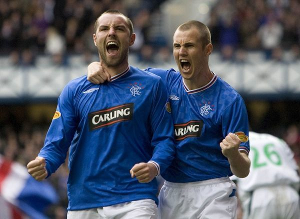 Rangers' Kris Boyd celebrates scoring with Rangers' Kenny Miller