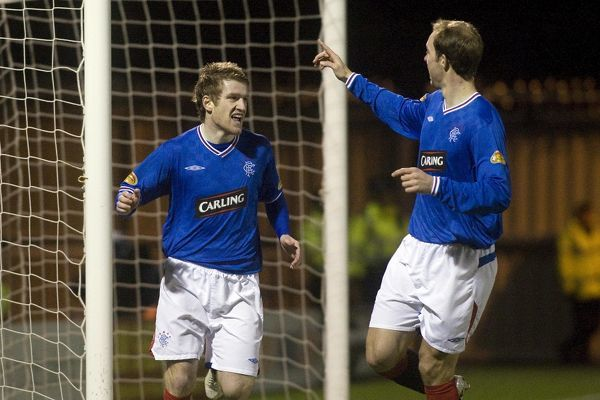 Rangers' Steven Davis celebrates after scoring the opening goal