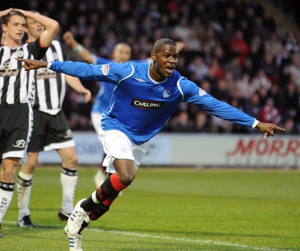 Maurice Edu celebrates scoring the second goal of the game
