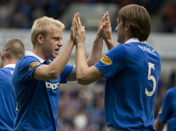 Rangers' Sasa Papac (right) celebrates after scoring his goal with Steven Naismith