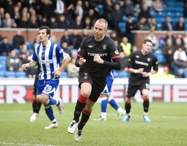 Rangers' Kenny Miller celebrates his goal from the penalty spot