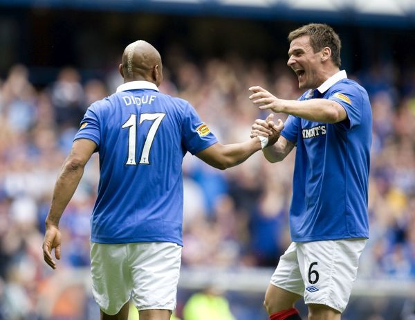 Rangers' El Hadji Diouf (17) celebrates his goal with Lee McCulloch