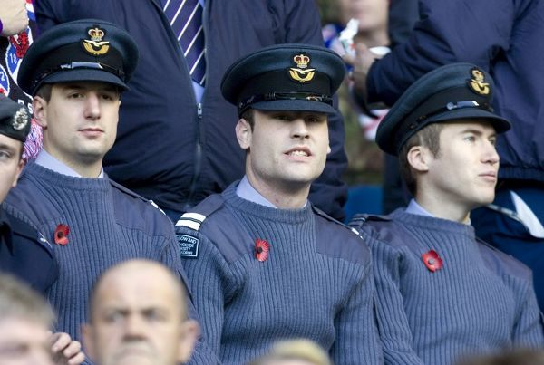 Rangers Football Club and the Rangers Charity Foundation welcomed around 300 armed services personnel and Erskine veterans to Ibrox in honour of Remembrance Day. Pictured are troops in the stands