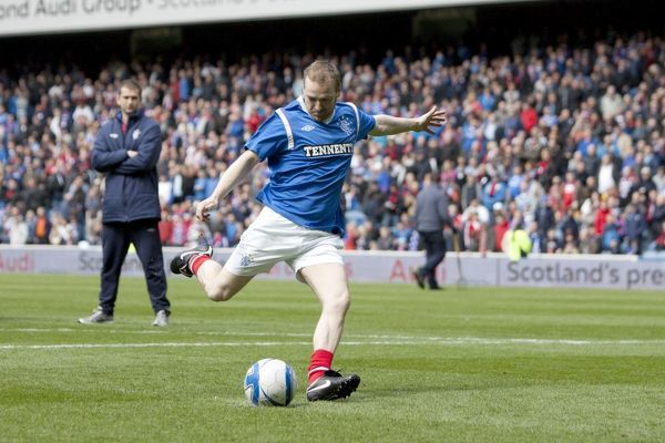 Rangers sponsors in the half time penalty shoot out