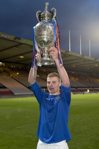Rangers' Jamie Mills celebrates his teams 3-2 victory over Celtic in the Glasgow Cup Final
