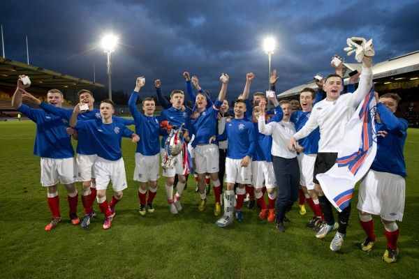 Rangers U17 players celebrates their victory (3-2) over Celtic in the Glasgow Cup Final