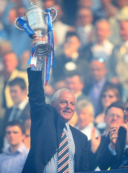 Rangers Manager Walter Smith lifts the Scottish Cup