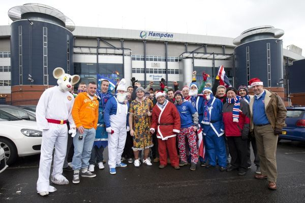 Rangers fans outside Hampden