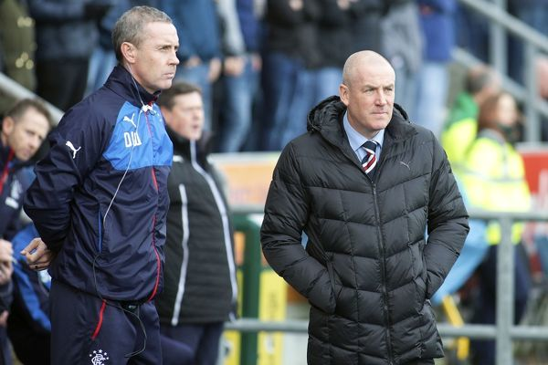 Rangers manager Mark Warburton and assistant manager Davie Weir during the Ladbrokes Championship match at the Falkirk Stadium, Falkirk