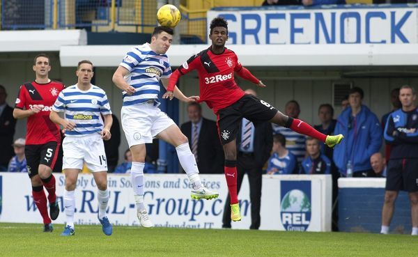 Rangers' Gedion Zelalem wins a header during the Ladbrokes Championship match at Cappielow Park, Greenock