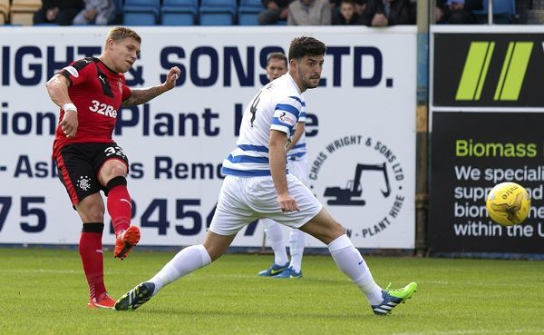 Rangers' Martyn Waghorn scores his second goal during the Ladbrokes Championship match at Cappielow Park, Greenock